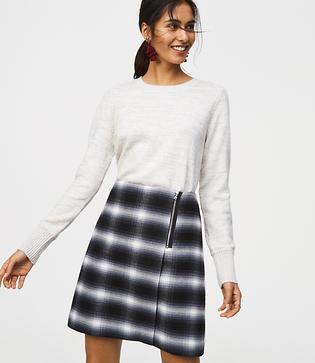 Loft Plaid Zip Wrap Skirt