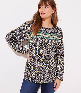 Loft Plus Tapestry Pleated Cuff Blouse