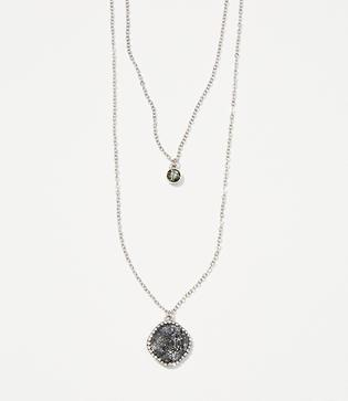 Loft Pave Pendant Layering Necklace Set