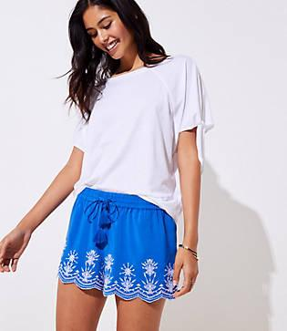 Loft Scalloped Embroidered Tassel Drawstring Shorts
