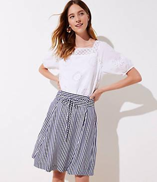 Loft Striped Tie Waist Skirt