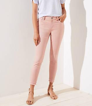 Loft Curvy Double Frayed Skinny Ankle Jeans In Pink