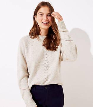Loft Flecked Pointelle Sweater