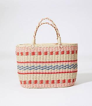 Loft Striped Straw Tote