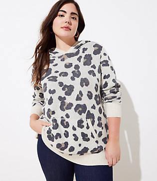 Loft Plus Leopard Print Hoodie Sweater
