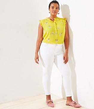 Loft Plus Slim Pocket Skinny Crop Jeans In White