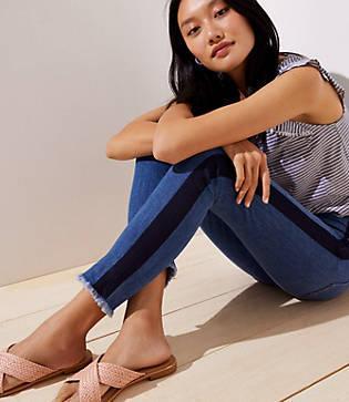 Loft Modern Painted High Waist Skinny Jeans In Bright Mid Indigo Wash