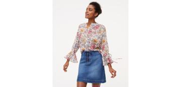 Loft Lace Up Denim Skirt