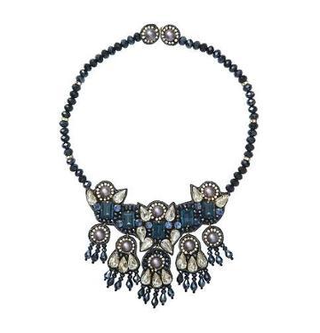 Loft Suzanna Dai For Loft Short Blue Bead Necklace