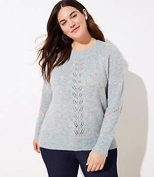 Loft Plus Marled Pointelle Sweater