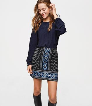Loft Snowflake Mosaic Shift Skirt