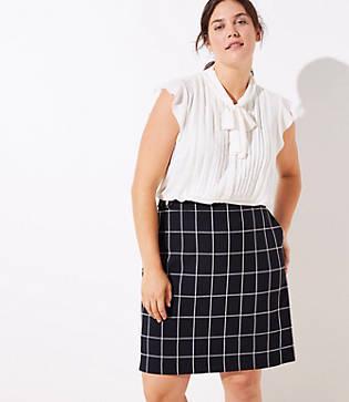 Loft Plus Plaid Button Tab Pocket Skirt