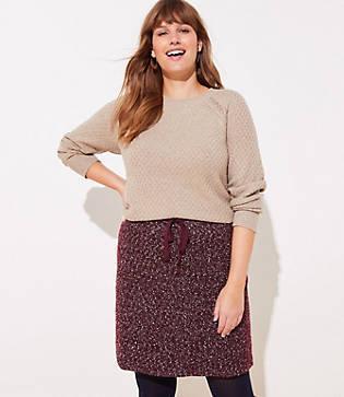 Loft Plus Flecked Knit Jogger Skirt