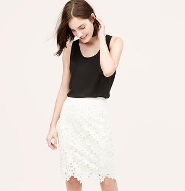 LOFT Floral Lace Pencil Skirt, Whisper White