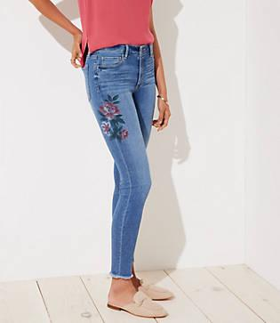 Loft Curvy Painted Skinny Ankle Jeans In Indigo Wash