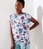 Loft Floral Mixed Media Tie Hem Top