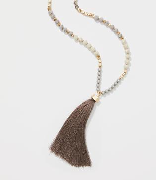 Loft Pearlized Tassel Pendant Necklace