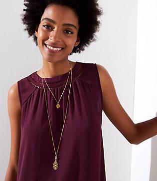 Loft Double Layer Filigree Pendant Necklace