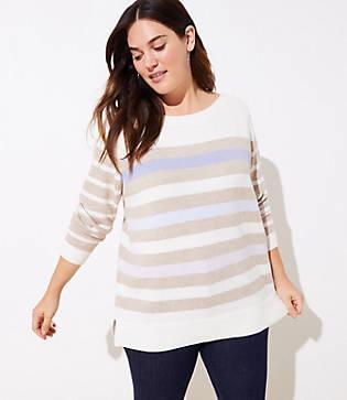 Loft Plus Striped Boatneck Tunic Sweater