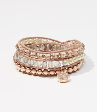 Loft Crystal Beaded Wrap Bracelet