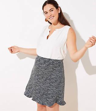 Loft Plus Spacedye Flounce Pull On Skirt