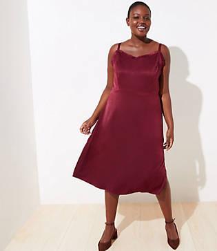 Loft Plus Strappy Satin Midi Dress