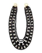 Multi-strand Beaded Cube Necklace