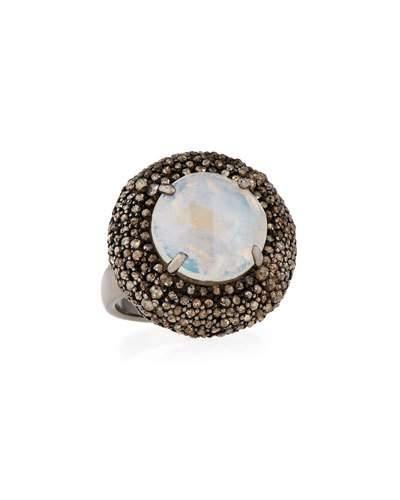 Rainbow Moonstone & Champagne Diamond Round Cushion Cocktail Ring,