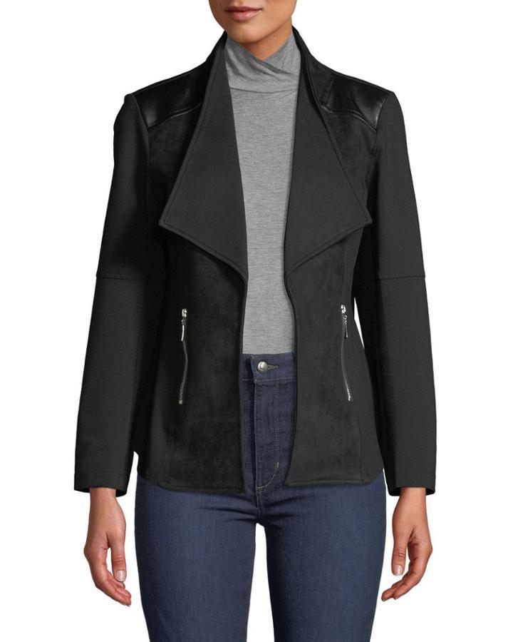Ponte Moto Jacket With Faux
