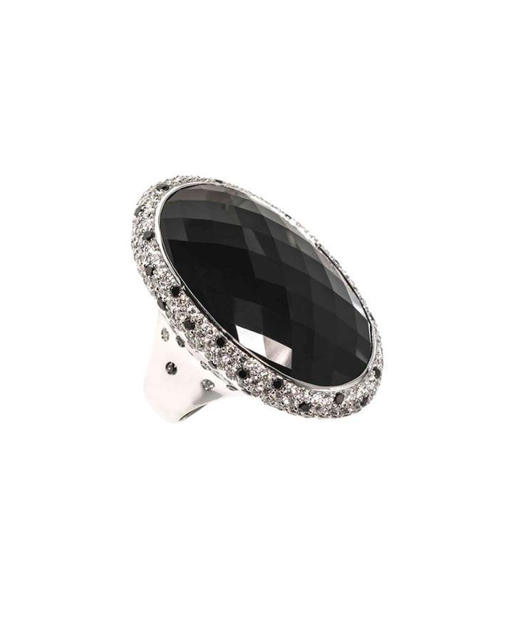 18k White Gold Diamond & Onyx Oval Ring,