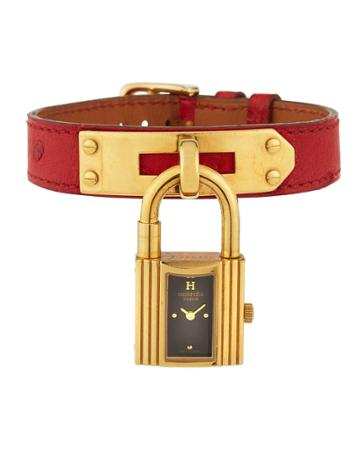 Estate Kelly Watch W/ Leather, Gold/red
