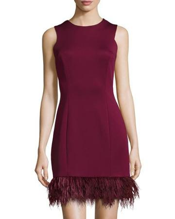 Faux-feather Hem Sleeveless Scuba Dress, Burgundy