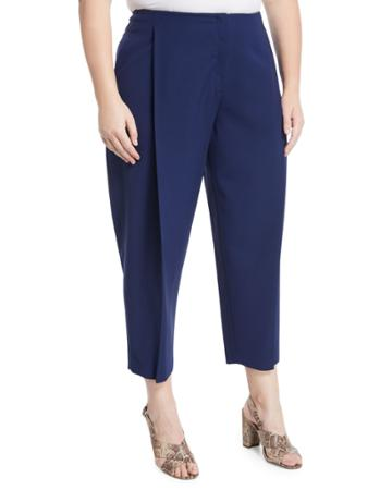 Pleated Wide-leg Ankle Pants,