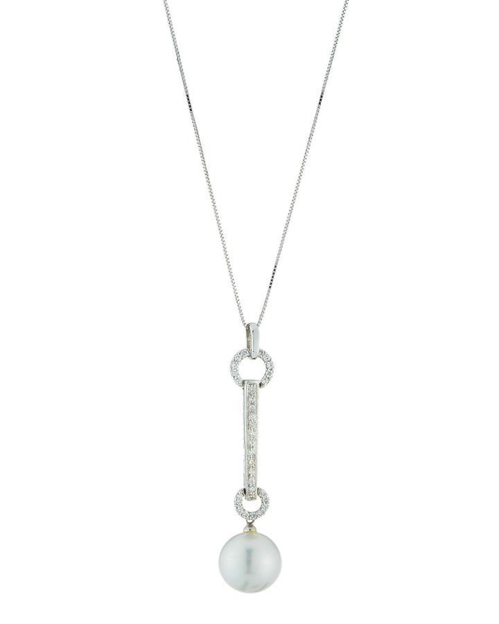 18k Diamond & Pearl Pendant Necklace