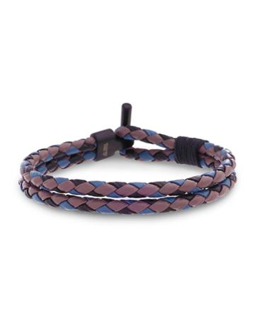 Men's Two-row Braided Leather Bracelet, Gray/black/purple