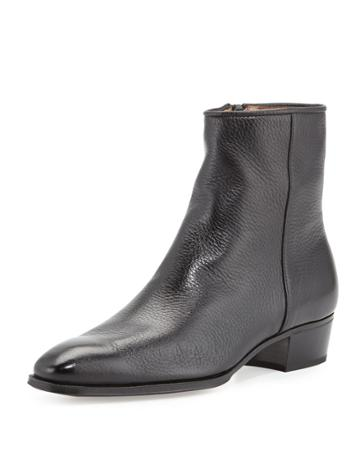 Leather Side-zip Ankle Boot