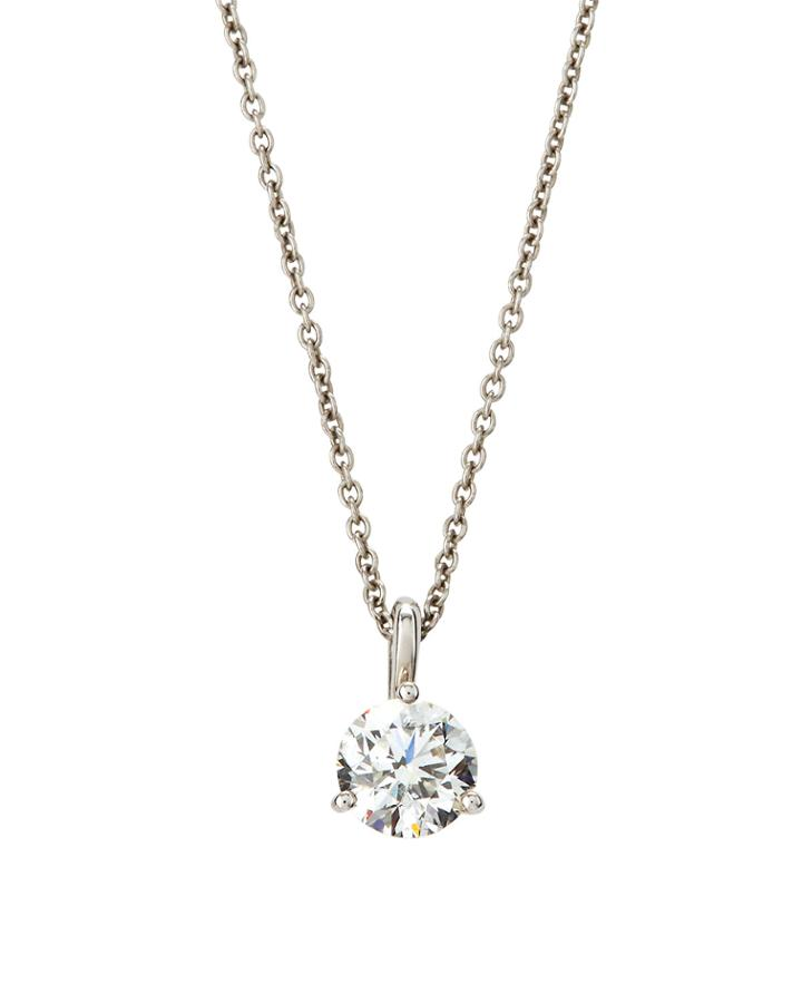 18k White Gold Diamond Martini Pendant Necklace