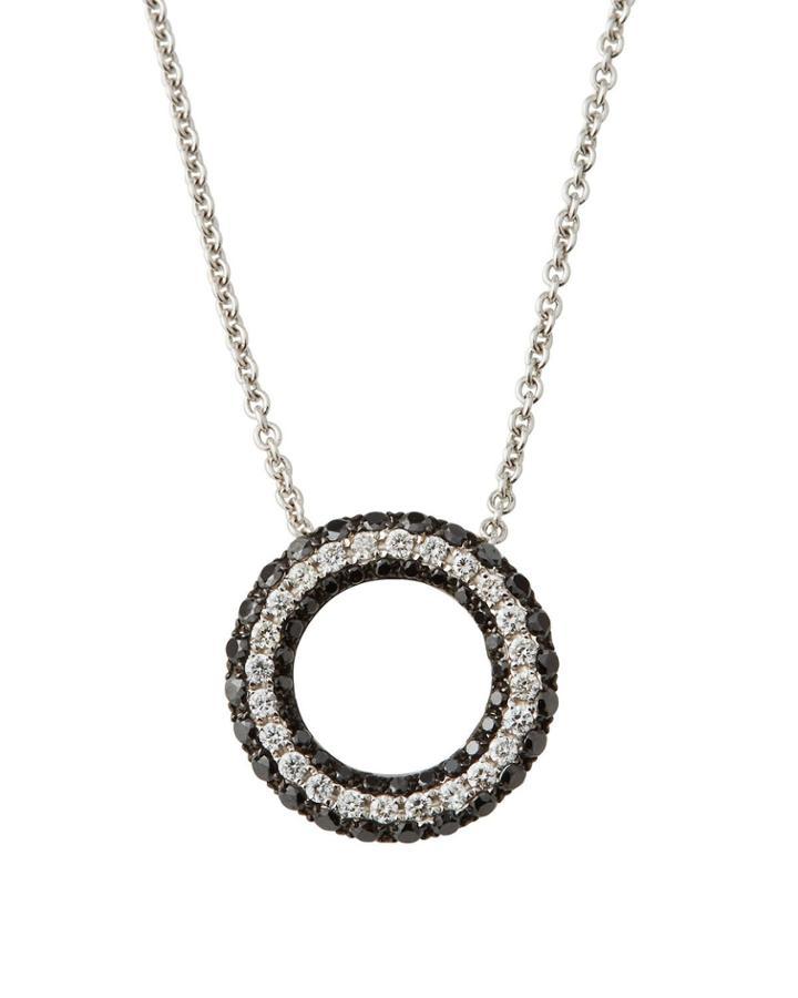 18k Black & White Diamond Pendant Necklace