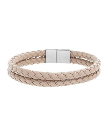 Men's Two-row Braided Leather Bracelet With Stainless Steel Clasp, Beige/silver