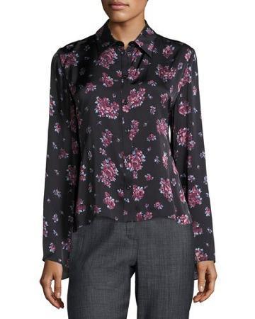 Orlean Floral-print Ruffle-back Crepe Blouse