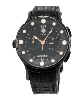 Alligator-strap Chronograph Watch, Black