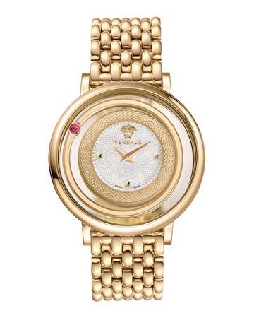 Venus Round Bracelet Watch W/ Floating Red Topaz, Golden