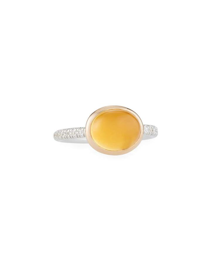 18k Citrine & Diamond Oval Ring,