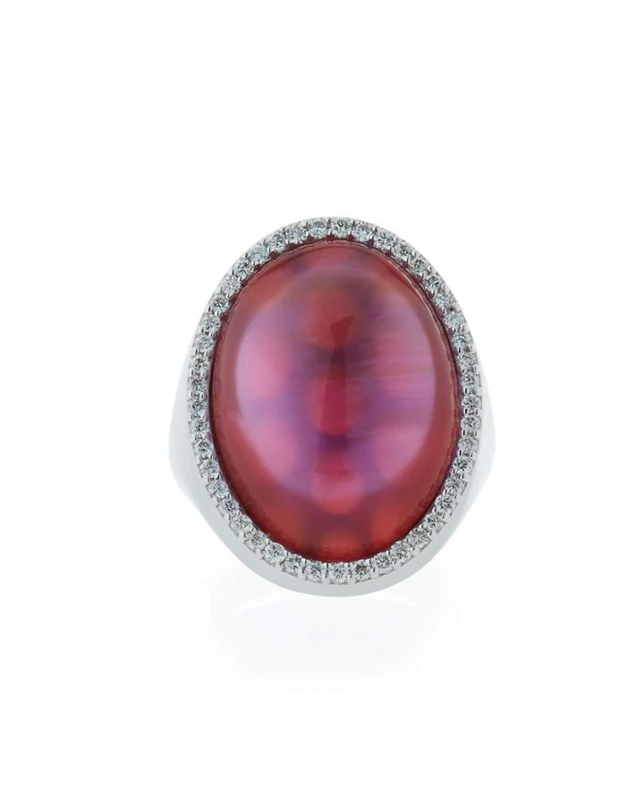 18k White Gold Amethyst & Diamond Oval Ring