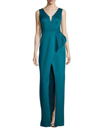Sleeveless Draped Satin Column Gown, Jade