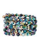 Multi-row Blue & Golden Wrap Bracelet