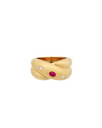 Estate 18k Yellow Gold Diamond And Ruby Ring,