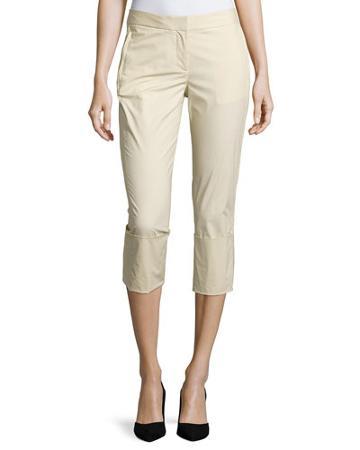 Skinny-leg Wide-cuff Pants, Parchment