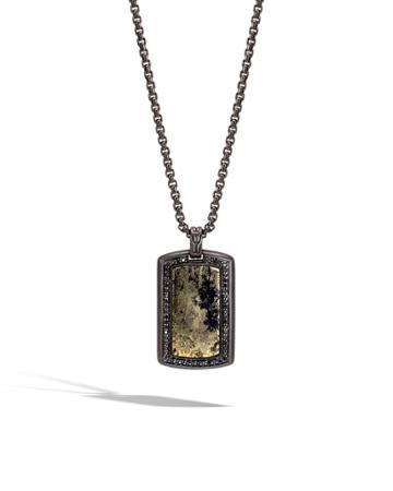 Men's Batu Classic Chain Silver Dog Tag Pendant With Pyrite