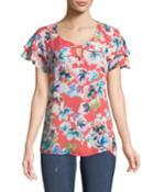 Ruffled-sleeve Floral-print Blouse